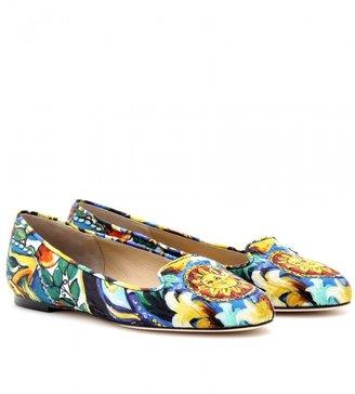 Dolce & Gabbana WALLY BROCADE PRINT SLIPPER-STYLE LOAFERS