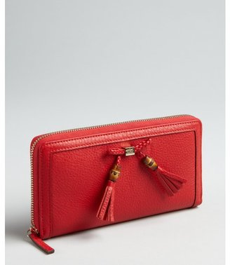 Gucci red leather bamboo bow zip continental wallet