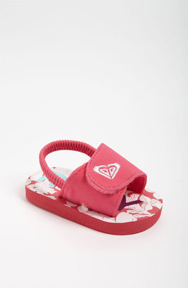 Roxy 'Tip Toe II' Sandal (Baby) Pink/ White 1 M