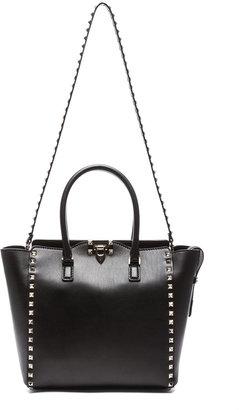 Valentino Rockstud Double Handle Bag in Black