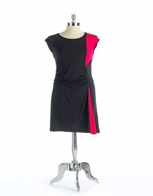 Design History Ruched Colorblock Dress