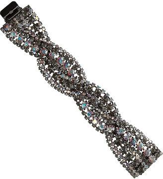 Elizabeth Cole Hematite-plated Swarovski crystal bracelet