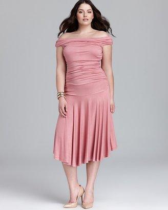 Melissa Masse Plus Off The Shoulder Ruched Dress
