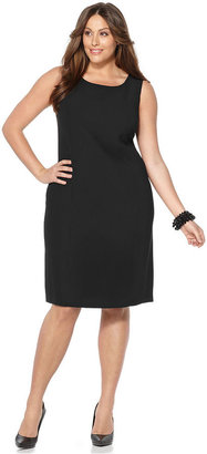 Kasper Plus Size Dress, Sleeveless Scoop Neck Sheath