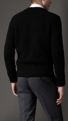 Burberry Wool Silk Ribbed Knit Sweater