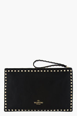 Valentino Black leather Rockstud zip clutch