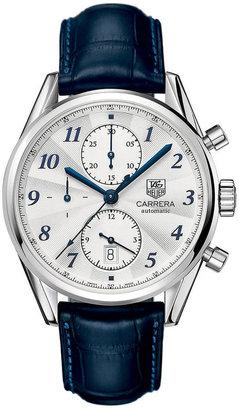 Tag Heuer Men's Carrera Heritage Blue Alligator Strap Watch