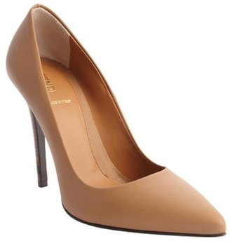 Fendi brown leather pointed toe pumps