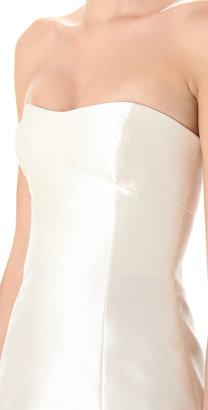 Reem Acra Silk Gazaar Dress with Trimmed Hem