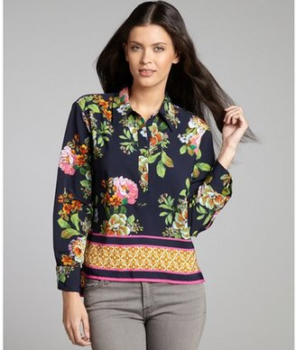 Ellen Tracy navy dahlia print woven high-low blouse