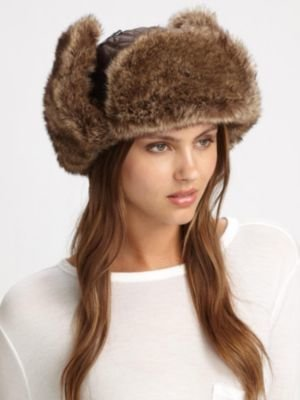 Saks Fifth Avenue Collection Faux Rabbit Trapper Hat