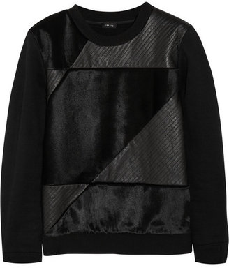 Theory Leather and calf hair-paneled cotton-blend sweatshirt