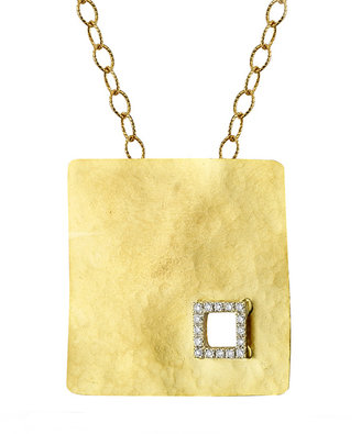 Reiss I.Reiss Flat Hammered Square Diamond Cut Out Pendant Necklace