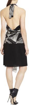 BCBGMAXAZRIA Runway Wrap-Front Halter Dress