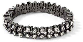 White House Black Market Hematite/Crystal Stone Stretch Bracelet