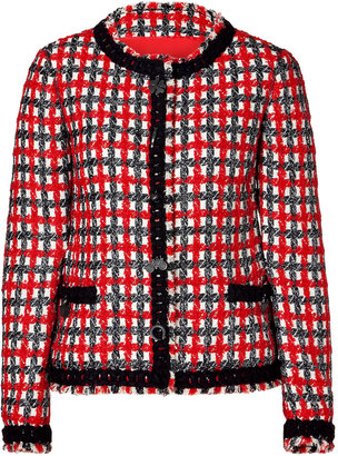 Moschino Cheap & Chic Lucky Red Plaid Boucle Jacket
