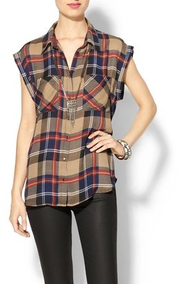 Juicy Couture Skies Are Blue Short Sleeve Plaid Button Down
