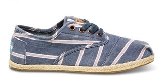 Toms Navy washed stripe women's cordones