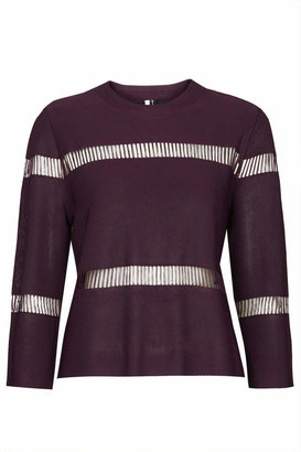 Topshop Aubergine knitted top with ladder-like detail. 100% viscose. machine washable.