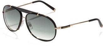 DSquared Dsquared2 Leather Navigator Sunglasses, Black