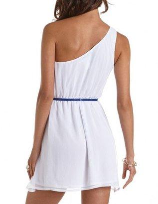 Charlotte Russe Belted One Shoulder A-Line Dress