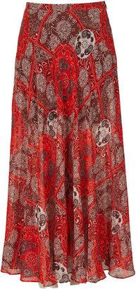Topshop Red Bandana Print Maxi Skirt