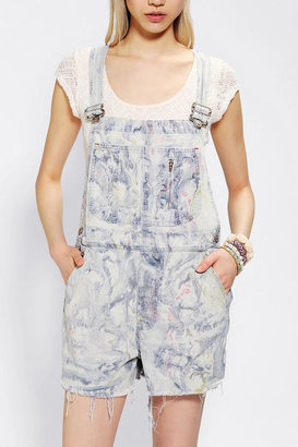 Urban Outfitters Urban Renewal Marble Denim Overall Short