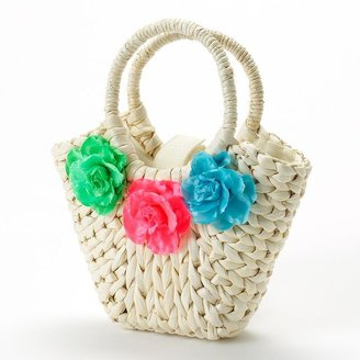 Toby floral straw tote - girls