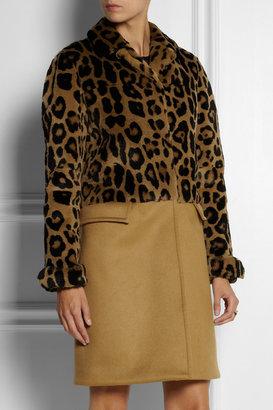 Burberry Leopard-print rabbit and cashmere-blend coat