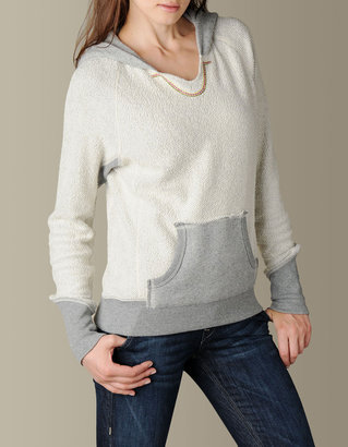 True Religion Womens Raw Edge Pullover W/Embroidery - Sg Heather Grey