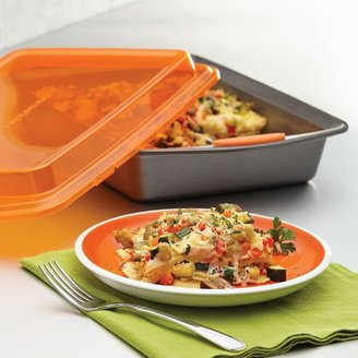 Rachael Ray Nonstick Bakeware 9 in. x 13 in. Covered Cake Pan in Gray with Orange Lid and Handles