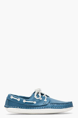 Quoddy blue hand-stitched boat Moccasins