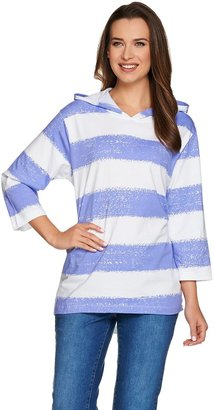 Denim & Co. Painterly Stripe Oversized Knit Hoodie