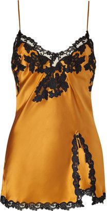 La Perla Golden Glow Silk Cami with Black Lace Trim