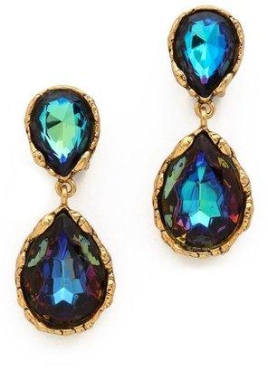 Oscar de la Renta Large Crystal Clip On Earrings