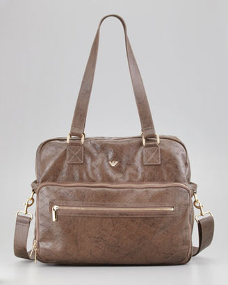 Armani Junior Faux-Leather Logo Diaper Bag, Chocolate