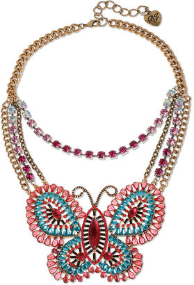 Betsey Johnson Necklace, Gold Tone Multi Colored Butterfly Frontal Necklace