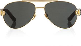 Linda Farrow 24-karat brushed gold watersnake-trimmed aviator sunglasses