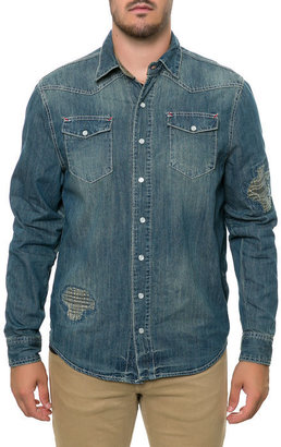 Springfield Classic CAMO LAYERED CHAMBRAY BUTTON DOWN SHIRTS INDIGO