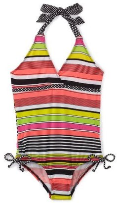 Pink Platinum Girls 2-6X Multi Color Strip One Piece Swimsuit