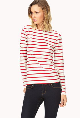 Forever 21 Striped Boat-Neck Tee