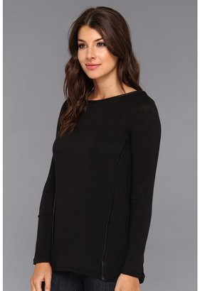 C&C California L/S Boat Neck Tee w/ Faux Leather Detail
