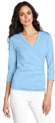 Lilla P Women's Pima Jersey 3/4 Sleeve Surplice