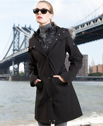 Calvin Klein Coat, Faux-Fur-Trim Hooded Soft Shell