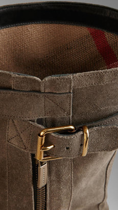Burberry Belted Buckle Detail Suede Boots