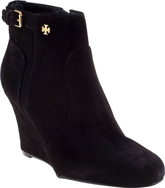 Tory Burch Milan Wedge Boot Black Suede