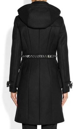 Givenchy Black hooded wool-blend duffle coat with silver chain detail