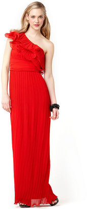 JS Collections Dress, One Shoulder Ruffled Tiered Pleated Evening Gown