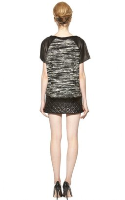 Alice + Olivia Pria Boxy Crew Neck Shirt With Leather