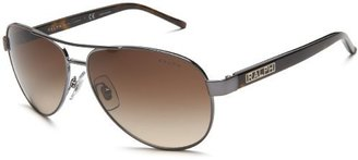 Ralph Lauren Ralph by Women's RA4004 Aviator Sunglasses, Grey,Grey Horn & Brown Gradient, 59 mm